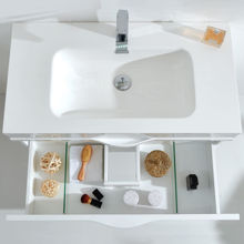 """36"""" White Wall Mounted Modern Single Bathroom Vanity with Mirror"""
